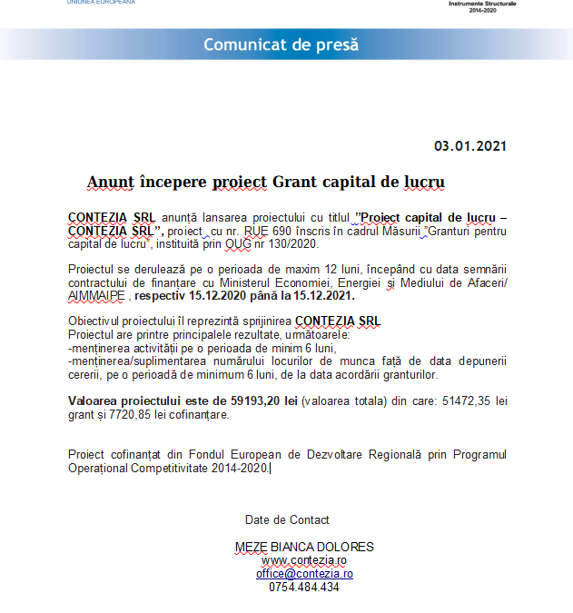 Anunț începere proiect Grant capital de lucru CONTEZIA SRL