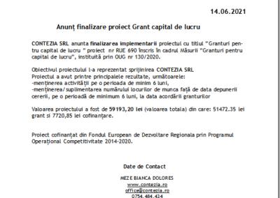 Anunț finalizare proiect Grant capital de lucru