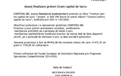Anunț finalizare proiect Grant capital de lucru CONTEZIA SRL