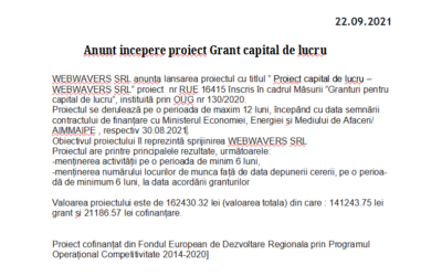 Anunt incepere proiect capital de lucru WEBWAVERS SRL